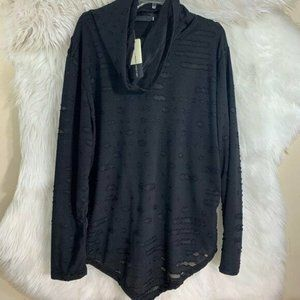 ZheLin Men NWT Black Turtleneck 2 XL  Shirt Distre
